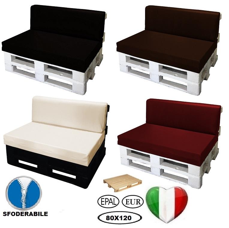 Set cuscino per bancale seduta schienale divano pallet ecopelle bianco ebay - Cuscino per divano ...